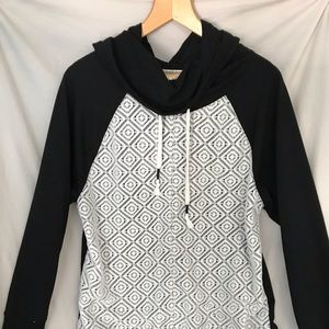 Crocheted Detail Hoodie Black and White